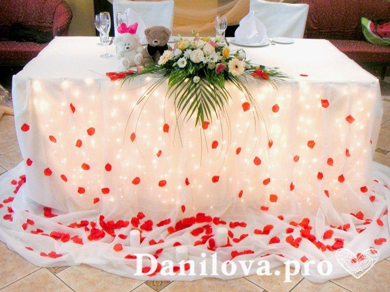 оформление стола на свадьбу с лепестками роз свечами и подсветкой