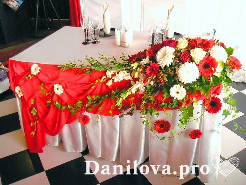оформление стола президиума в красном цвете