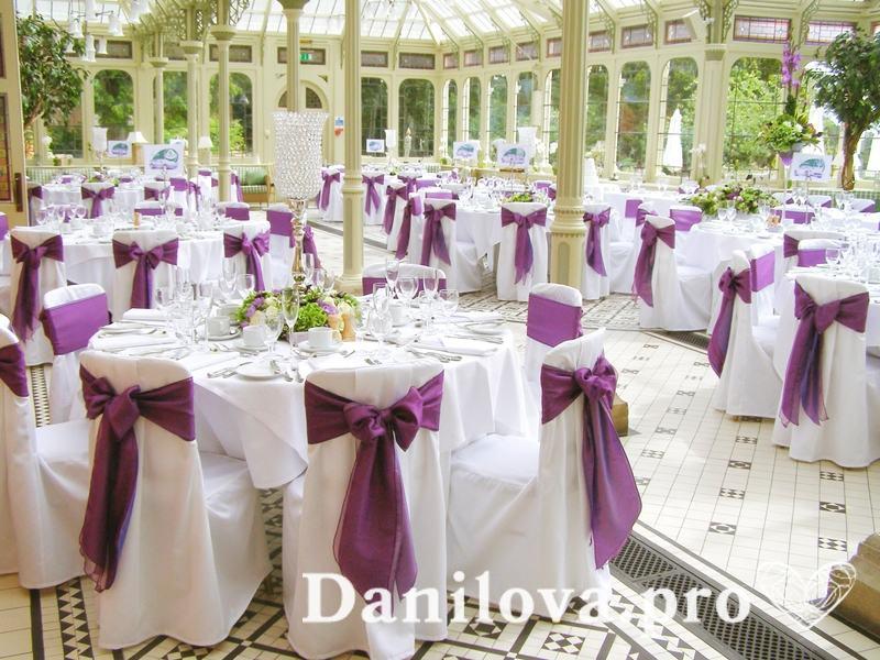 оформление стульев на свадьбу лиловый