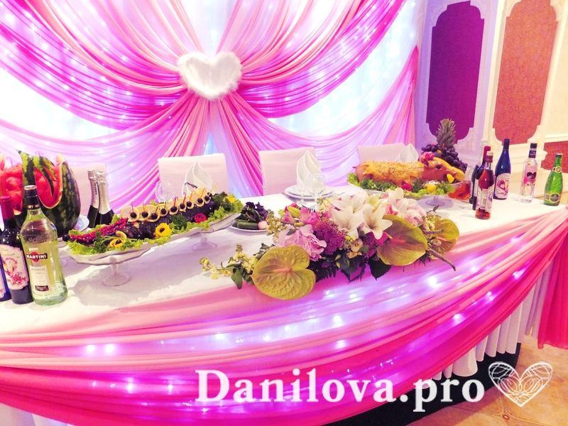 украшение свадебного стола тканью с подсветкой