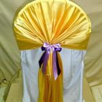 желто-сиреневые банты на стулья