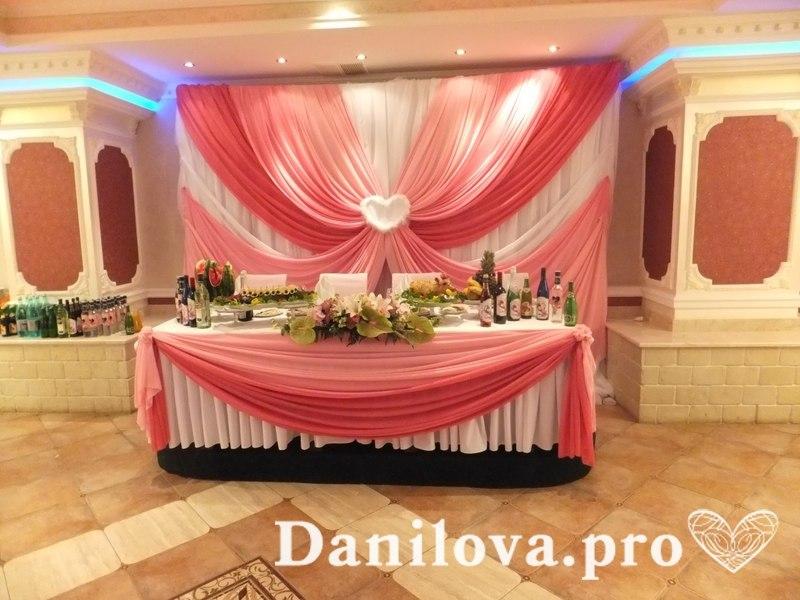 Оформление задника на свадьбу в розовом цвете