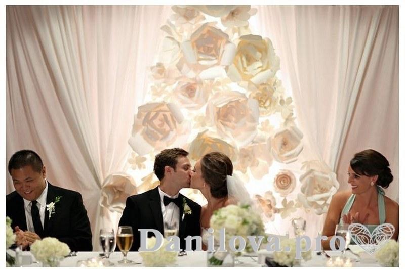 оформление задника на свадьбу из бумаги